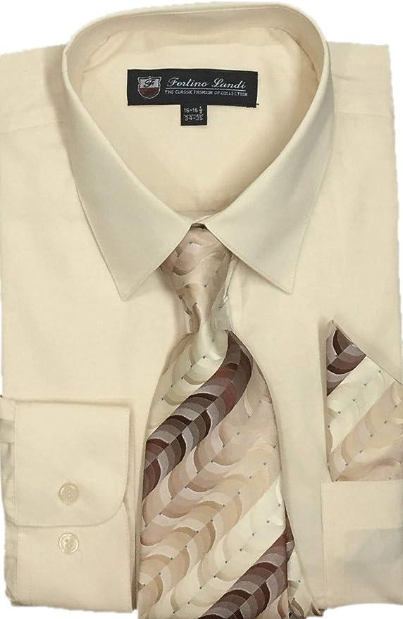 Fortino Landi Camisa de Vestir para Hombre con pañuelo de Corbata ...