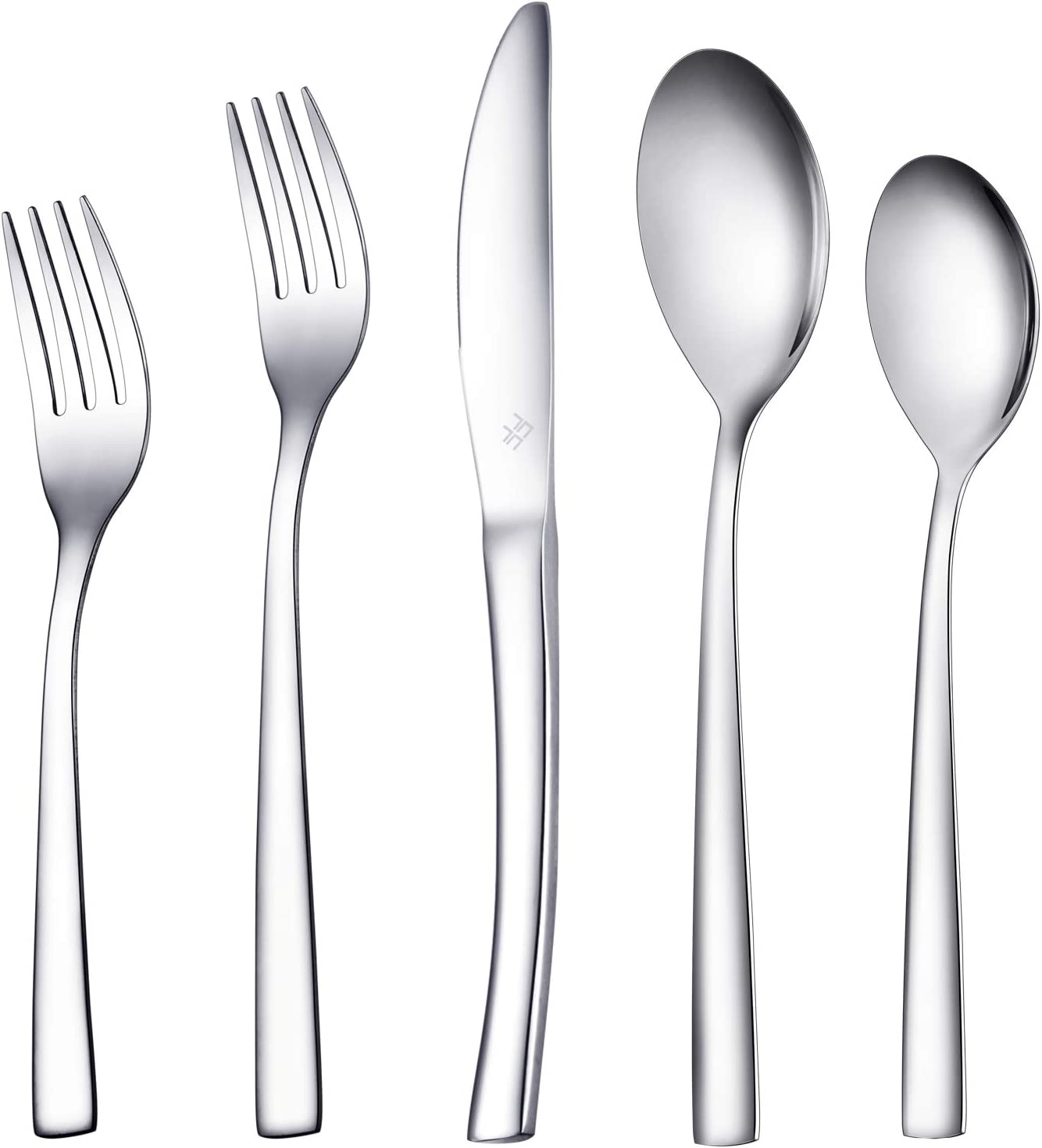 Ferfil Silverware Sets, 40-Piece Stainless Steel Flatware/Cutlery/Tableware Set Service for 8, Include Knife/Fork/Spoon, Mirror Polished, Dishwasher Safe