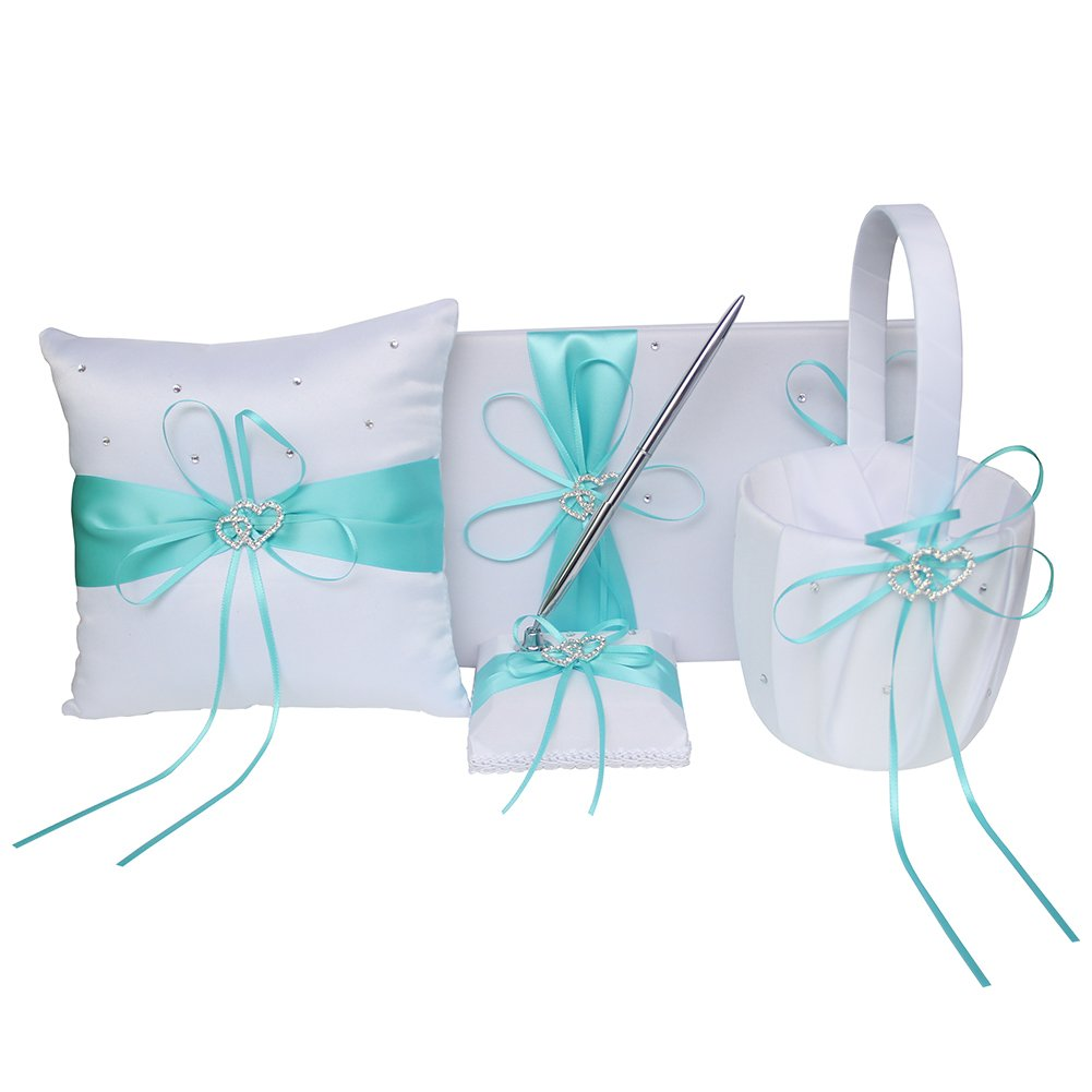 4pcs Wedding Sets Flower Girl Basket + Ring Bearer Pillow + Guest Book with Pen + Pen Set Holde with 2 Rhinestone Hearts for Rustic Bridal Wedding Shower Ceremony, Aqua Blue