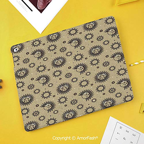 PU Flip Case for Samsung Galaxy Smart TAB S4 10.5 2018 T830 T835 Cover,Sun and Moon,Mythology Pattern with Vintage Space Symbols Dots Astronomy Art Inspiration,Brown Khaki