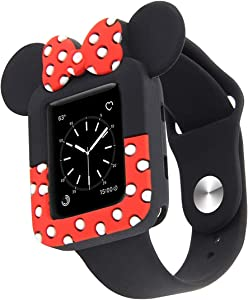 Lovely Cartoon Mouse Ears TPU Protective Cover for I Watch 38mm and 42mm, Soft Silicone Protector Bumper Frame Protective Double Color Case for iWatch Series 1/2/3 Girls Boys (Black+red, 42MM)