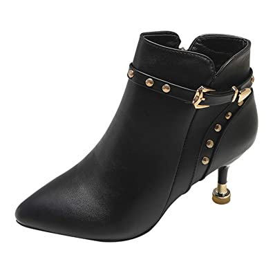 8a04a73fb60a Frestepvie Women s Ladies Black PU Suede Leather Chelsea Boots Kitten Heel  Court Shoes Belt Buckle Zipper