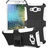 Heartly Flip Kick Stand Spider Hard Dual Rugged Armor Hybrid Bumper Back Case Cover For Samsung Galaxy E7 SM-E700F Dual Sim - Best White