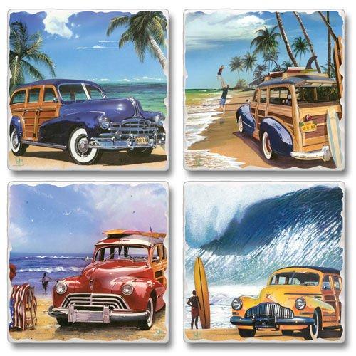 """(Beach Cruisers 4 Pack Asst. Coasters 3.6"""" Sq. x .3"""")"""
