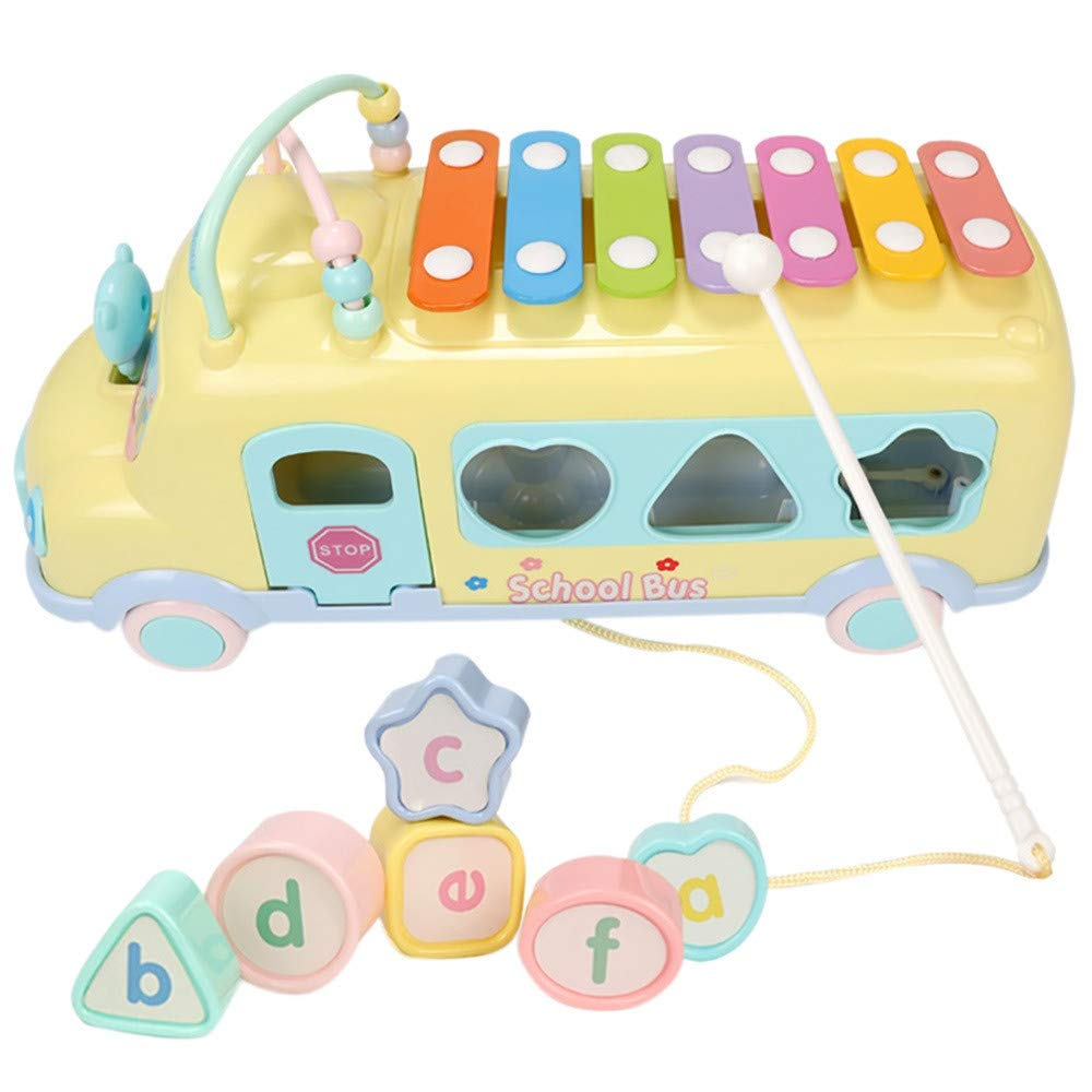 Sunbona Toy Brain Game Hand Knock Piano Pull Musical Instrument Early Educational Learning Music (Yellow)