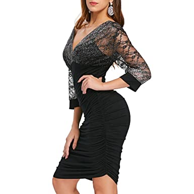 5632353336a CharMma Women s Sexy Mesh Deep V Neck Low Cut Ruched Bodycon Party Dress ( Black