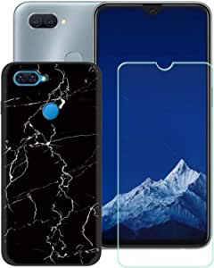 """FZZ Case for Oppo A12s + Screen Protector Tempered Glass Protective Film,Soft Silicone Black Shell Gel Flexible TPU Phone Case Cover for Oppo A12s (6.2"""") - LLM9"""