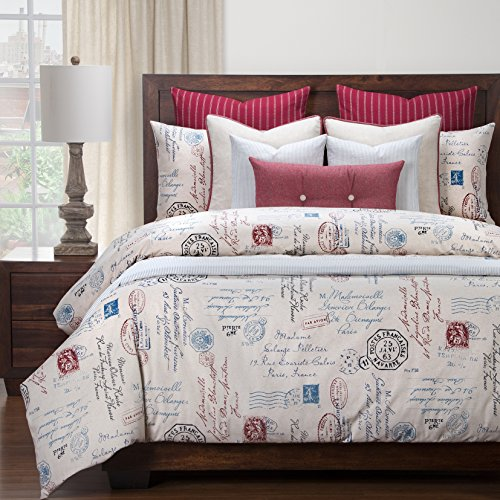 6 Piece Boys French Postal Linen Pattern Duvet Cover Set King Set, High-End Luxury Motivational Quotes & Sayings Themed Bedding, Typography Design, Vintage Style, Cotton, Off-White Blue Red by SE