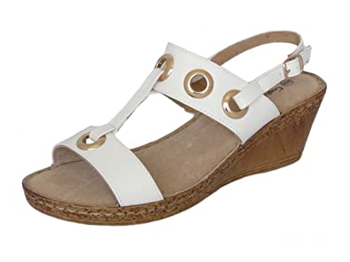 0cd82f3d4cc Cushion Walk Ladies Leather Lined Wedge Peep Toe Strappy Summer Sandals  Size 3-8 (
