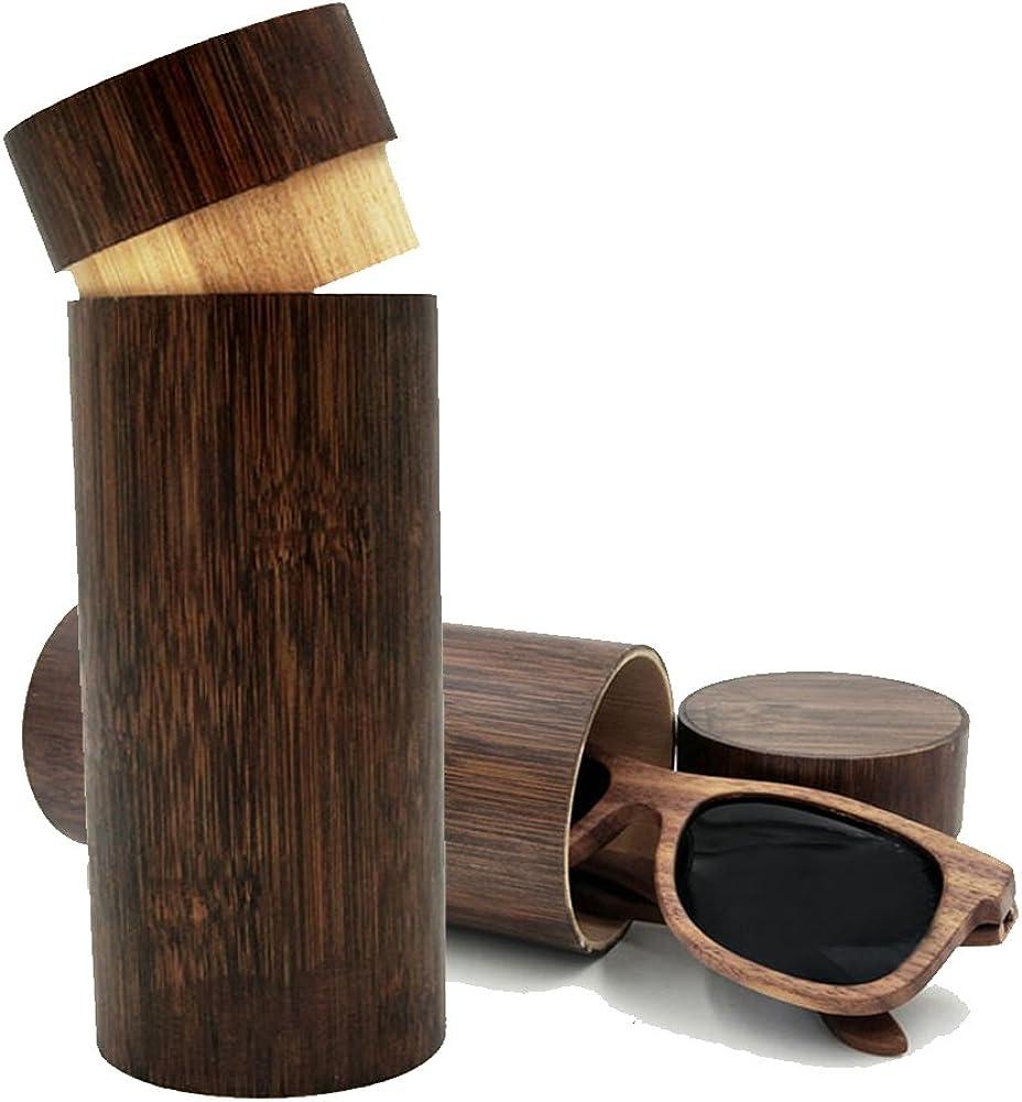 KINGLOO Handmade Bamboo Wooden Glasses Sunglasses Storage Box Round Brown