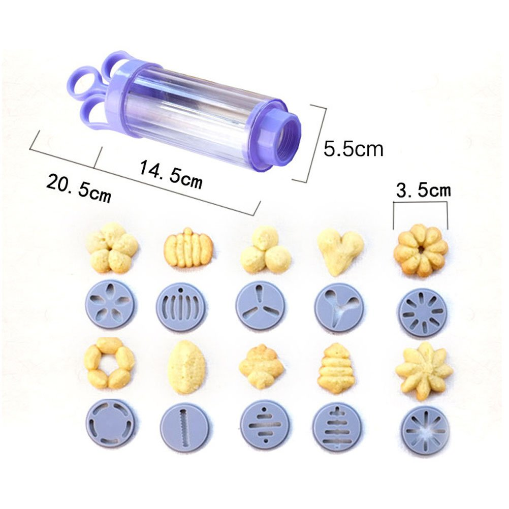 BESTONZON Cookie Press Kit Plastic Biscuit Maker Dessert Cake Decorating Supplies with 10 Disks and 8 Icing Tips
