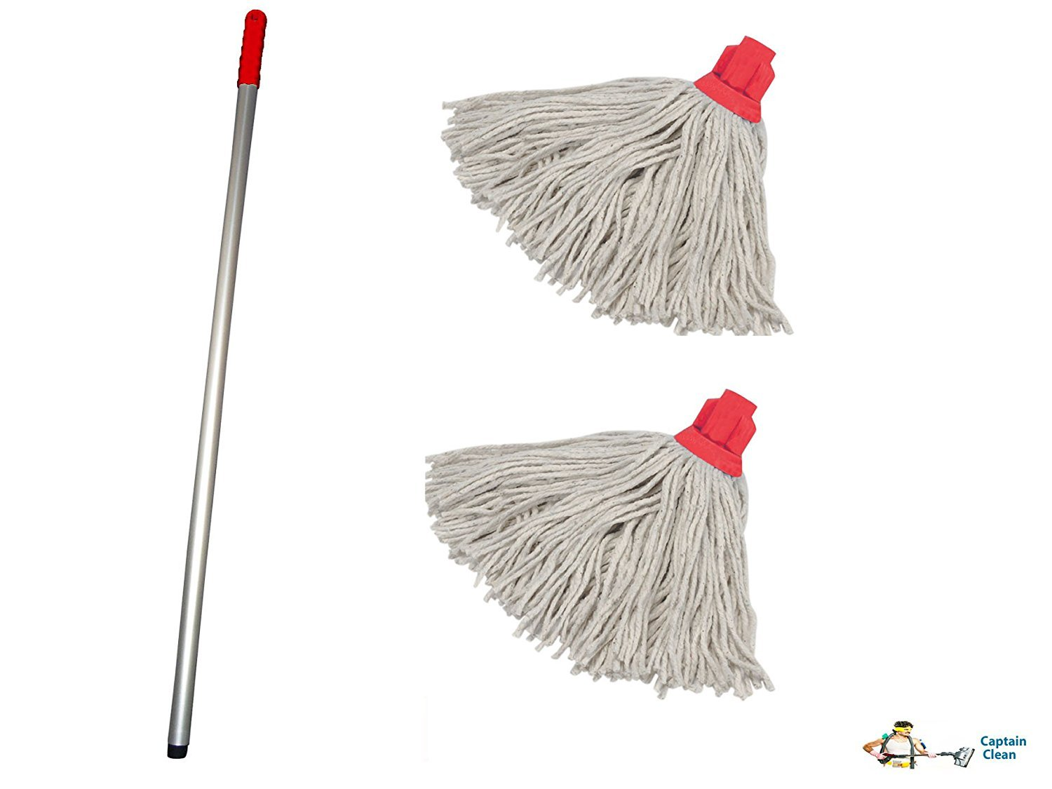 Professional Colour Coded Mop Handle and 2 Mop Heads - Colour Red ...