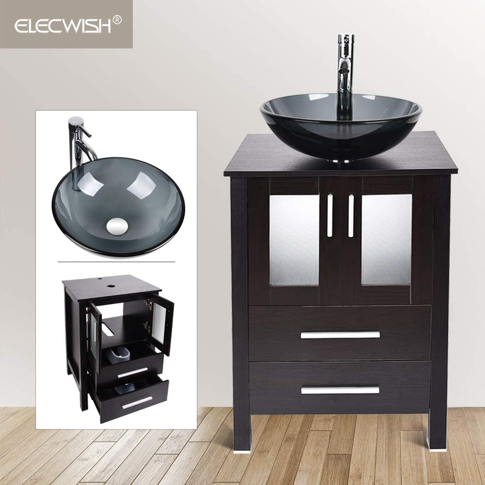 Modern 24 inch Bathroom Vanity Basin MDF Cabinet with Counter Top Round Glass Vessel Sink Faucet Pop Up Drain Combo