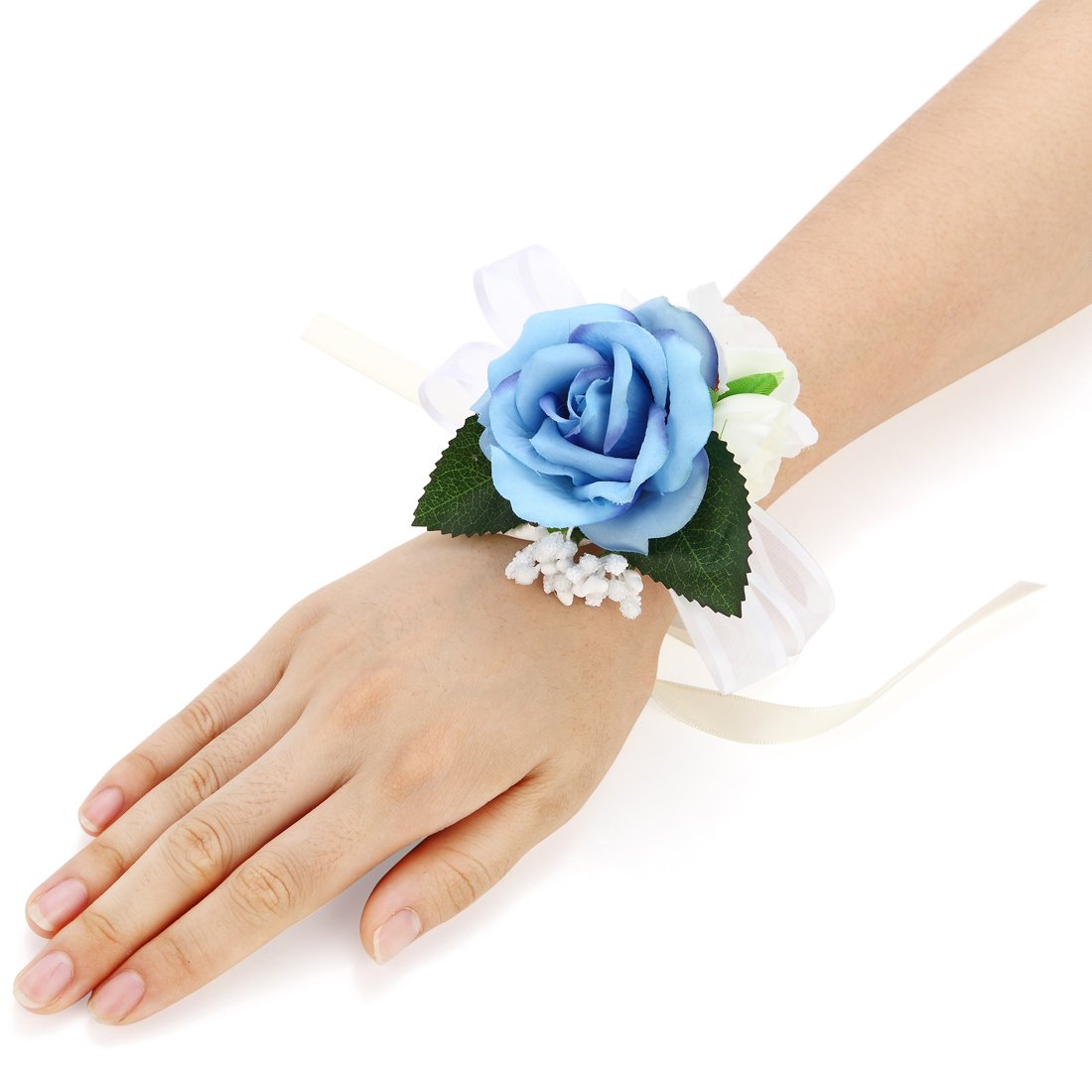 Pack of 4 Girl Bridesmaid Wedding Wrist Corsage Party Prom Hand Flower Decor (Blue)