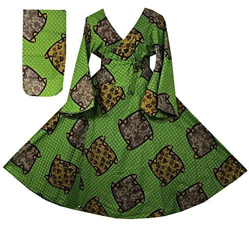 Decoraapparel Enrouler Autour De Robe Maxi D'impression Kente Africaine Manches Longues Cloche Robe De Coton V Cou P15 Moutarde Verte