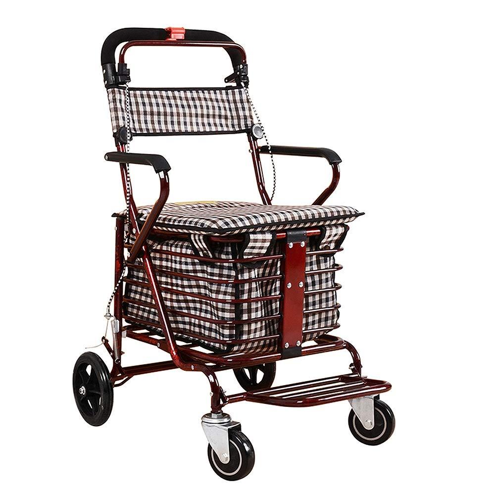 折りたたみショッピングカート、古いスクーターシート、四輪食料品ショッピングカート、プッシュ小カート、古いカート B07S886DQ1