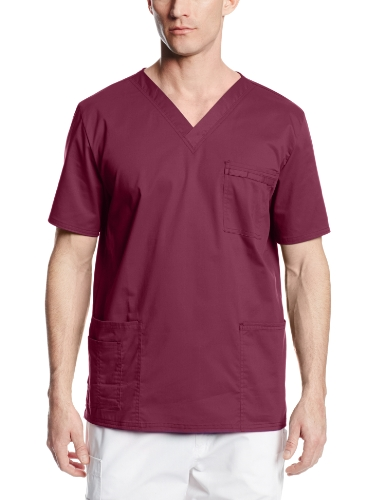 Cherokee Premium Core Stretch Unisex V-neck Scrubs Shirt, Wine, X-Large