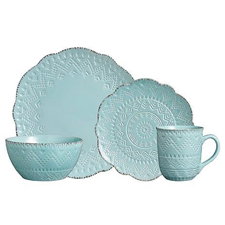 Amazon.com | Pfaltzgraff Remembrance Teal Dinnerware Set, 32 Piece ...