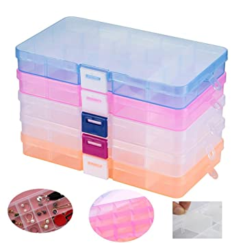 Amazoncom Ailiebhaus 5 Pack Adjustable Jewelry Organizer Box Clear