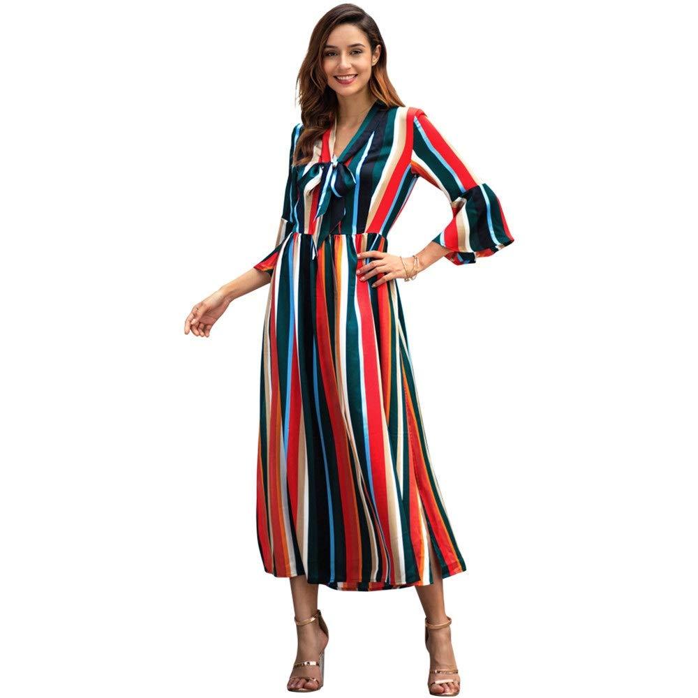 Green Ladies Dress Women Casual Long Dress Summer Beach Dress Stripe Printed High Slit Dress V Neck Bell 3 4 Sleeve Evening Flowy Party Dress Fit and Flare Swing Dress Mini Dress