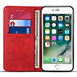 Iphone 6 Plus/6s Plus Leather Wallet Phone Case Iphone Case with Card Holder Kickstand Protective Flip Cover Red Cover