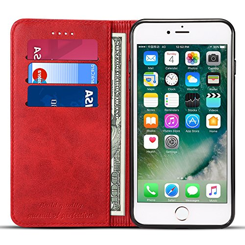 Iphone 7 Plus Leather Wallet Phone Case Iphone Case with Card Holder Kickstand Protective Flip Cover Red - Both Covers