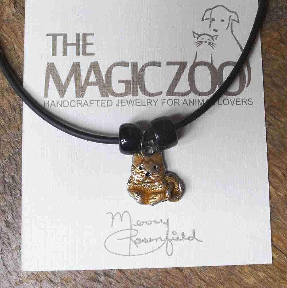 The Magic Zoo Enamel Orange Sitting Tabby Cat Necklace