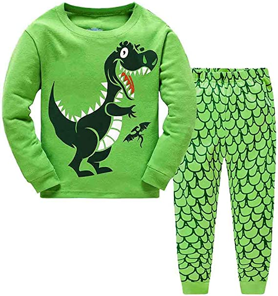 Toddler Kids Boys Dinosaur Pyjamas Pjs Set Casual T-shirt Top Tee Shorts Clothes