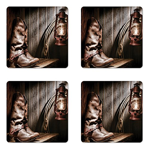 Ambesonne Western Coaster Set of Four, Dallas Cowboys and Lantern on a Bench in Vintage Ranch Nostalgic Folkloric Photograph, Square Hardboard Gloss Coasters for Drinks, Brown -