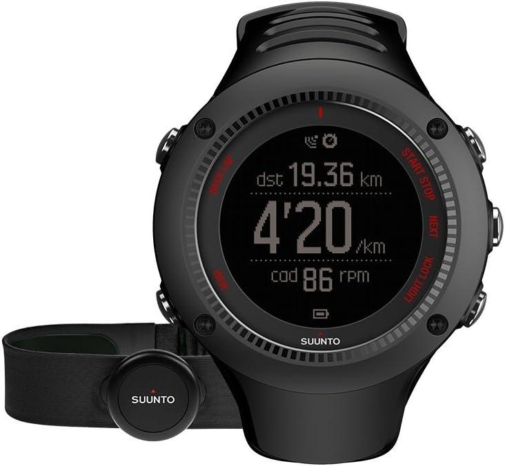 Suunto, Ambit3 Run HR, Orologio GPS, Monitoraggio Frequenza cardiaca + Fascia cardio (Taglia M), Nero