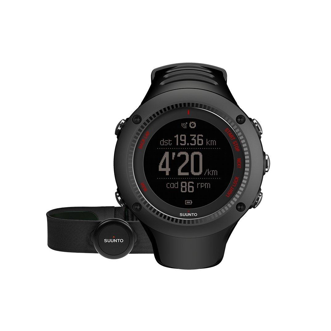 Suunto, AMBIT3 RUN HR, Reloj GPS Unisex Running, 15 h duración batería, Heart Monitor frecuencia cardiaca + Cinturón de frecuencia cardiaca, Sumergible hasta 50 m, Negro, SS021257000