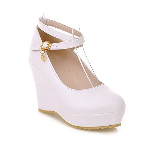 Womens Round Closed Toe High Heel Wedge Soft Material PU Solid Boots