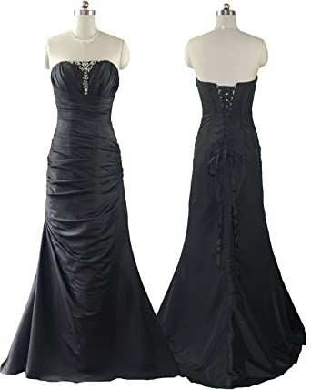 5466 Qpid Showgirl Black Taffeta Beaded & Ruched Evening Dress Prom Dress Bridesmaid Dress Ball Gown