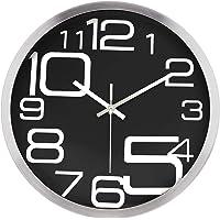 "Lafocuse Industrial Metal Silent Wall Clock Large Numerals Black Quartz Clocks for Living Room Bedrooms 12"""