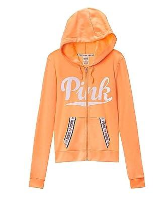 5ebf1c4b49ff5 Victoria's Secret PINK Perfect Full Zip Hoodie, Neon Orange/White ...