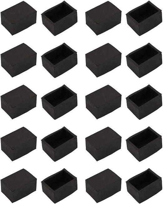20 piezas Tapón de goma para punta de pata negro silla para muebles de escritorio 30mmx20mm rectangular: Amazon.es: Bricolaje y herramientas