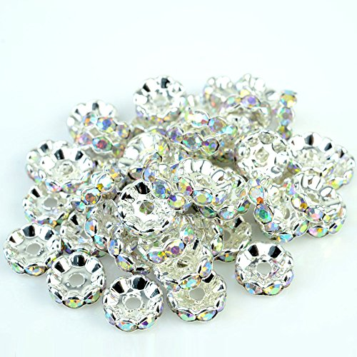 RUBYCA Top Quality 100pcs 8mm Wavy Rondelle Spacer Beads Silver Tone AB White Czech Crystal