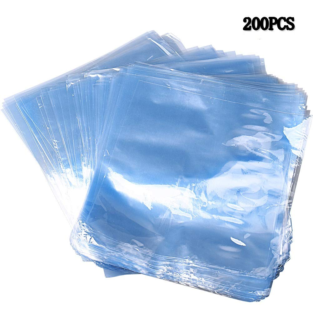 pengxiaomei 200 pcs Shrink Wrap Bags Blue PVC Cellophane Shrink Bags Round Bath Bomb Bags for Soaps Bath Bombs and DIY Crafts Cookies Homemade