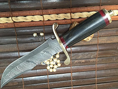 Perkin | 12 Inch Razor Sharp Fixed Blade Damascus Steel Bowie Knife | Full Tang Blade W/A High Grade Leather Sheath| Designed for Hunting, Survival, Skinning, Camping & Self Defense | by Perkin (Image #3)