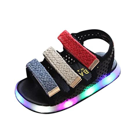 Niños Pequeños Deporte Verano Sandalias de bebé para niñas Zapatos luminosos LED Zapatillas ¡Verano caliente