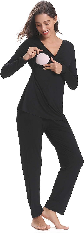 Hawiton Set Pigiama Due Pezzi Lungo Premaman da Donna in Cotone Morbido con Maniche Lunghe Pigiama Camicia da Notte Vestito per Parto Ospedale Allattamento