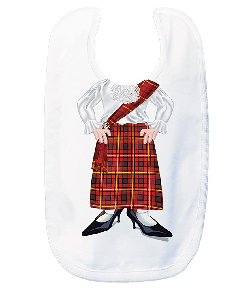 Just Add A Kid Baby Girl's Scottish Lady Red 1015 Baby Bib 0-6 Months White