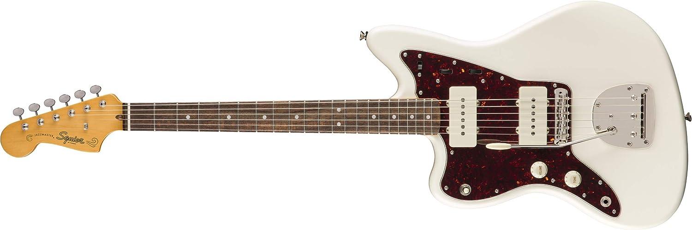 Squier by Fender Classic Vibe 60's Jazzmaster - Guitarra eléctrica para zurdos, color blanco olímpico