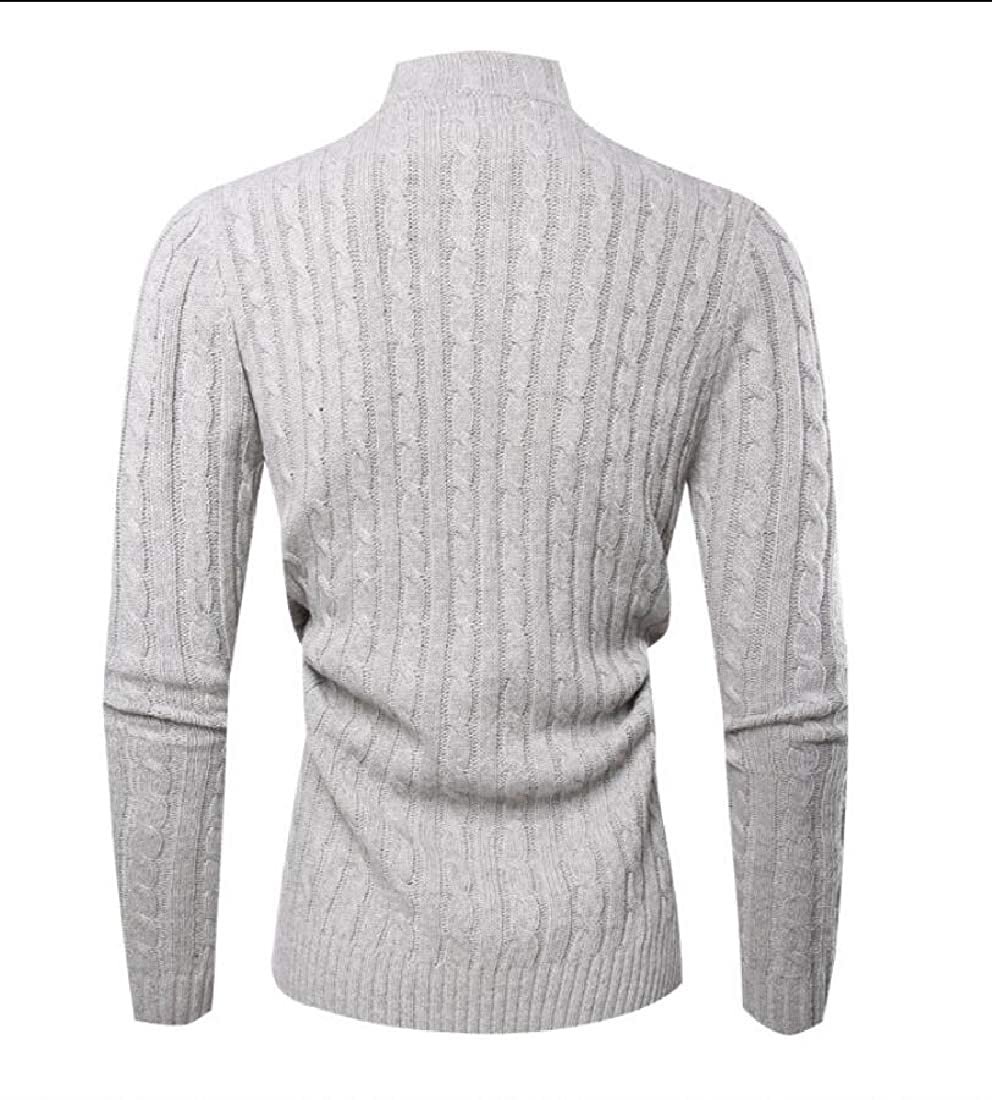 ouxiuli Mens Casual Long Sleeves Turtle Neck Knitted Pullover Sweater Slim Jumper