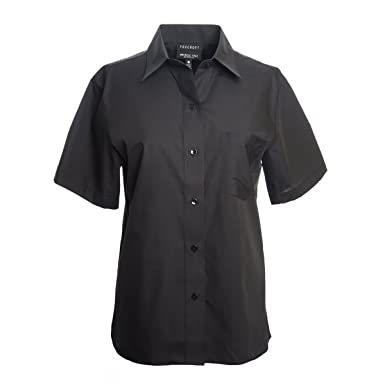 bfd44329d556ae Foxcroft Woman's Short Sleeve CVC Solid Blouse Wrinkle Free Shaped Fit  (Black, ...