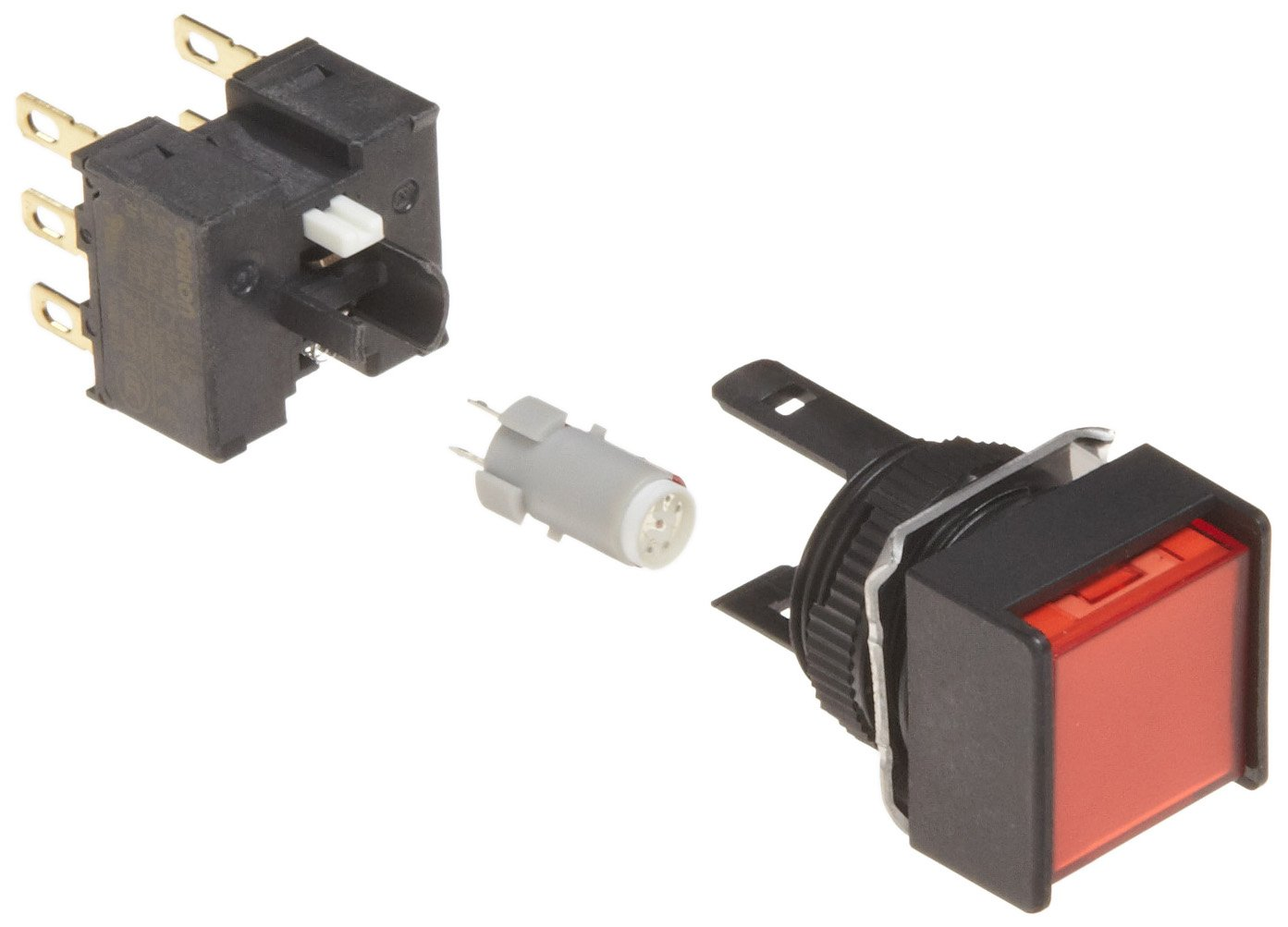 Omron A165L-ARM-24D-2 Two Way Guard Type Pushbutton and Switch, Solder Terminal, IP65 Oil-Resistant, 16mm Mounting Aperture, LED Lighted, Momentary Operation, Square, Red, 24 VDC Rated Voltage, Double Pole Double Throw Contacts