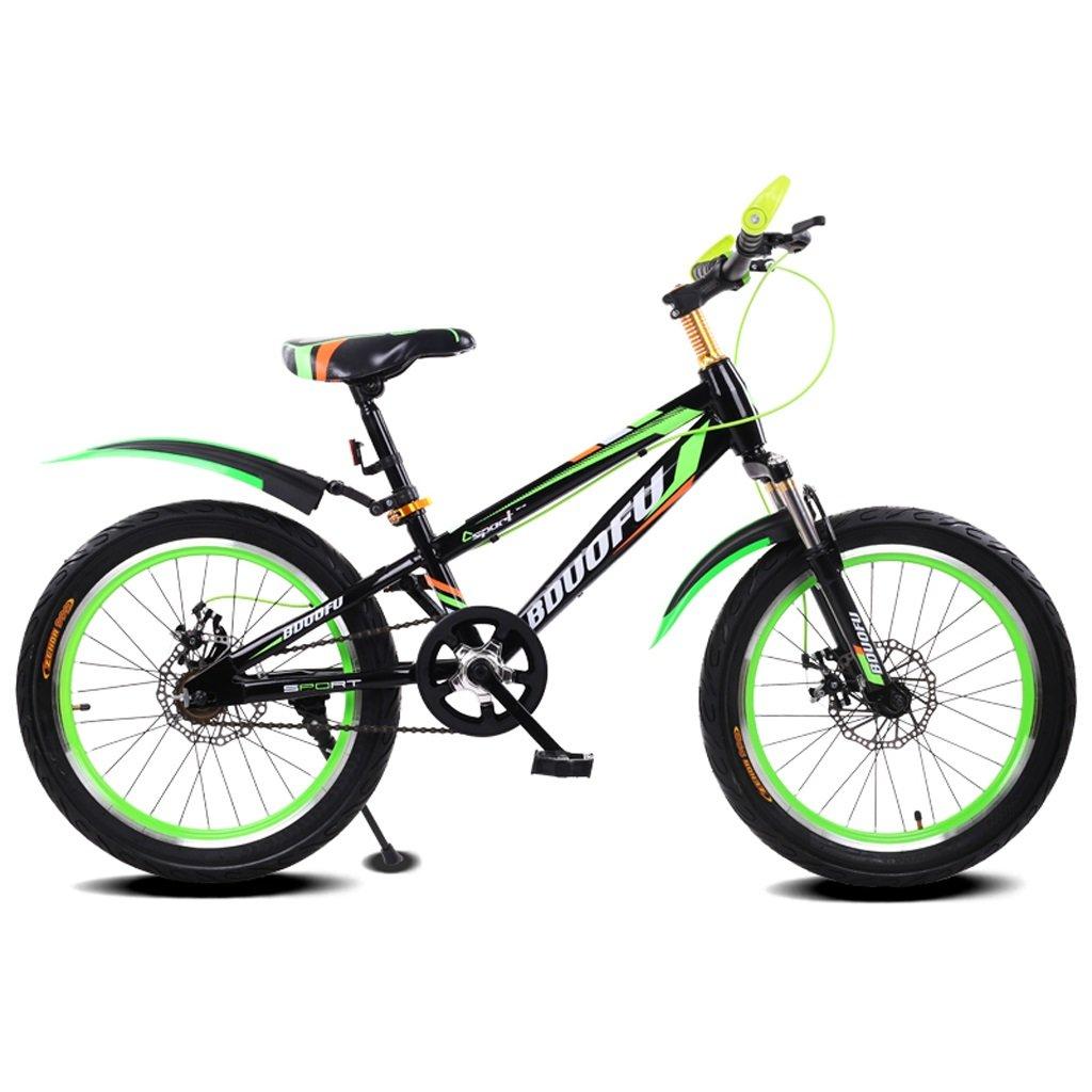 子供用自転車16/18/20インチマウンテンバイク5-8/7-10/10-14歳赤ちゃんキャリッジハイカーボンスチール自転車、ブルーブラック/レッドブラック/グリーンブラック/ブルー (Color : 18 inch green black)   B07D1K21RD