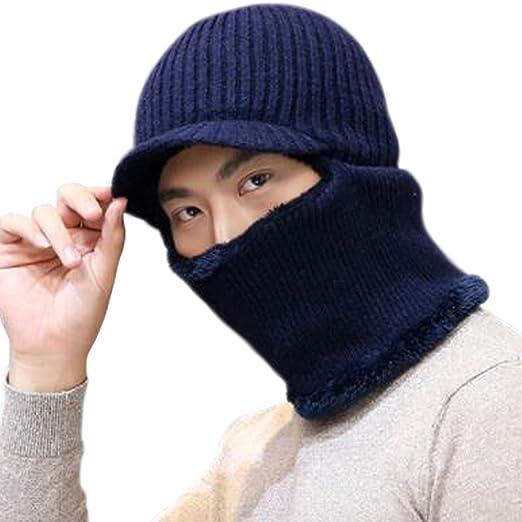 JOYEBUY Warm Knitted Balaclava Beanie Hat Windproof Ski Face Mask Winter  Hats (Visor Hat- e25fd261781