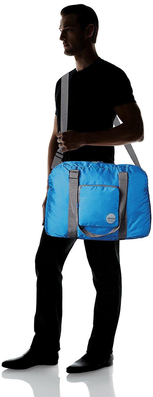 Wandf Foldable Travel Duffel Bag Luggage Sports Gym Water Resistant Nylon, Blue by WANDF (Image #10)