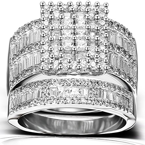 Yadda Ella Luxury Ring Sets For Women – High Clarity Diamonique Simulated Diamond Accent, White Gold Plating And Polished, Smooth And Wear Resistant For Engagement, Wedding & Anniversaries